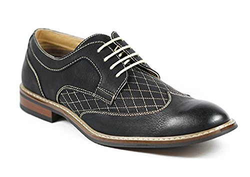 Men's Ferro Aldo 19266 Distressed Wing Tip Lace Up Oxfords Dress Shoes, Black, 10