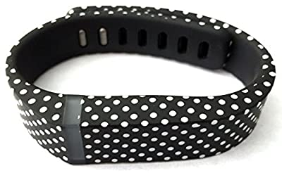 Dealzip Inc® Fitbit Flex Wristband Replacement Accessory,Black with White Dots,Large