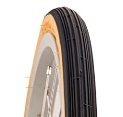 Unique vintage-styled gumwall tire provides excellent grip on paved surfaces
