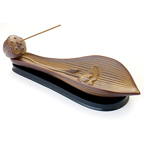 Ceramic Incense Burner - Lotus Leaf Vintage Incense Stick Holder Cone Ash Catcher Tray with Stable Base (Leaves Ceramic Base)