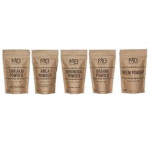 Herbal Dry Shampoo Powder COMBO | 5 Powders (Shikakai, Neem, Brahmi, Amla, Bhringaraj) Powders | 100 g each 9