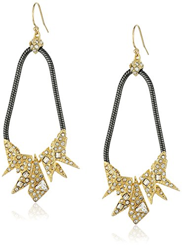 Alexis Bittar Two-Tone Crystal Encrusted Origami Tear Drop Earrings