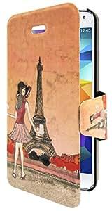 Omenex 685108 - Funda tipo libro para Samsung Galaxy S5, diseño Trip Paris