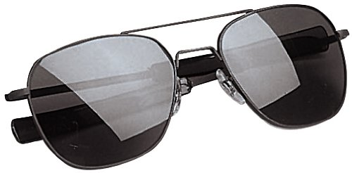 AO Eyewear Original Pilot 55mm Black Frame with Bayonet Temples and True Color Grey Glass Lens