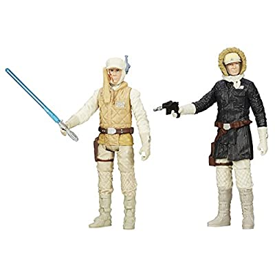 Star Wars Mission Series Luke Skywalker and Han Solo (Hoth Gear) Action Figures, 3.75 Inches