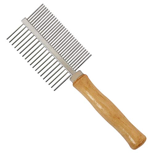 guanheng Wooden Handle Cat Dog Stainless Steel Double-Sided Comb Grooming Hair Shedding Washing Tool