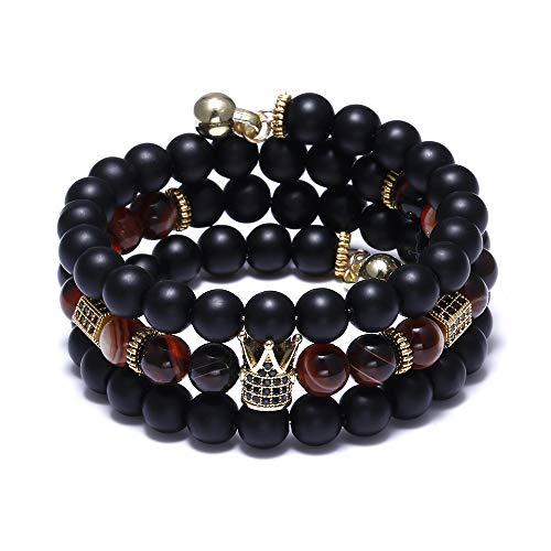 Multi Stone Charm (FUTTMI 8mm Multi-Layer Crown King Charm Bracelet for Men Women Black Matte Onyx Natural Stone Beads Couple Jewelr)