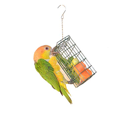 QBLEEV Bird Foraging Interactive Feeders, Outdoor Suet Cake Feeder Basket,Creative Parrot Treat Box Fruit Vegetable Millet Holder for Cages, Bird Cage Hanging Climbing Toys