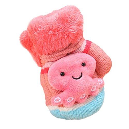 guante de bebé Auxma Por 1-6 años de edad,Bebé Niños Muchachos Lindo Dibujo Engrosar Invierno Guantes Calientes Regalo rosa