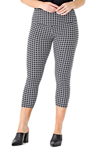 INTRO. Tummy Control High Waist Pull-On Printed Capri Cotton \ Spandex Legging Graphite Grey Tile Print - Plus 2X