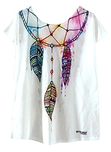 Drop Sleeve T-shirt (Futurino Women's Indian Dreamcatcher Watercolor Print Drop Sleeve T Shirt Tops,Dreamcatcher,Small)