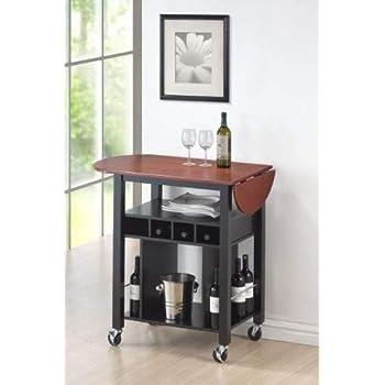 Amazon Com Roundhill Furniture Cherry Drop Leaf Wine