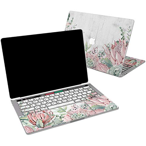 Lex Altern Vinyl Skin for MacBook Air 13 inch Mac Pro 15 Retina 12 11 2019 2018 2017 2016 2015 White Wood Succulent Flower Pastel Cactus Gentle Cover Keyboard Decal Sticker Touch Bar Laptop Women
