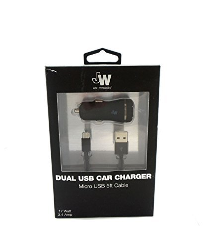 Just Wireless Dual USB Car Charger with 5ft Micro USB Cable Black -