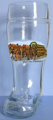 Oktoberfest German Glass Beer Boot 1 Liter Made in Europe Octoberfest Mug