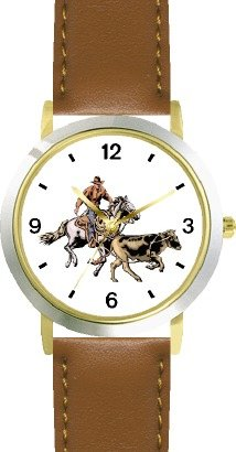 Horse and Rider Chasing Calf in Calf Wrestling Horse - WATCHBUDDY DELUXE TWO-TONE THEME WATCH - Arabic Numbers - Brown Leather Strap-Children's Size-Small ( Boy's Size & Girl's Size ) by WatchBuddy