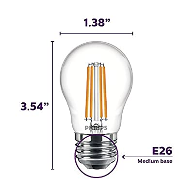Philips LED Dimmable A15 Light Bulb: 500-Lumen, 5000-Kelvin, 5.5-Watt (60-Watt Equivalent), E26 Base, Clear, Daylight, 8-Pack