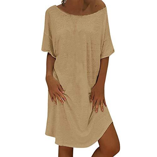 in a unita Abito Fashion Tinta beige cotone lino lino stampa lungo V e Estate scollo Plus Size Casual in Donna Vjgoal HWv0wq7q