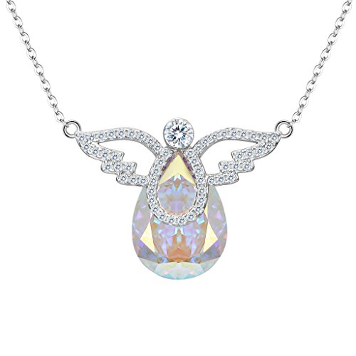 EleQueen 925 Sterling Silver CZ Teardrop Angel Wing Pendant Necklace Iridescent Aurora Borealis AB Made with Swarovski Crystals