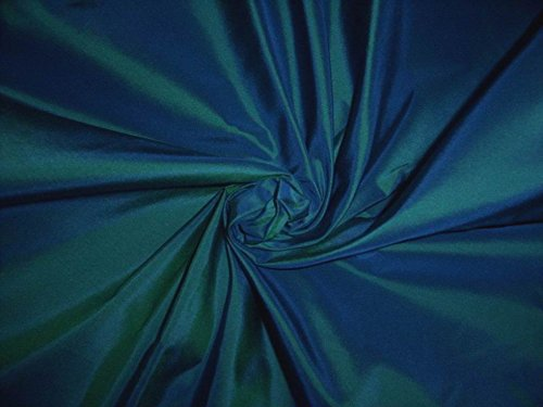 "PURE SILK TAFFETA IRIDESCENT BLUE X GREEN ~KINGFISHER 54"" - Hobbies,Home decor,Sewing,Fashion,Doll Dress,Furnishing,Interior."