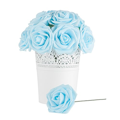 Dinopure Wedding Bouquet 50pcs Artificial Flowers White Real Touch Artificial Roses for Bouquets Centerpieces Wedding Party Baby Shower DIY Decorations (light blue) - Baby Shower Boutonniere