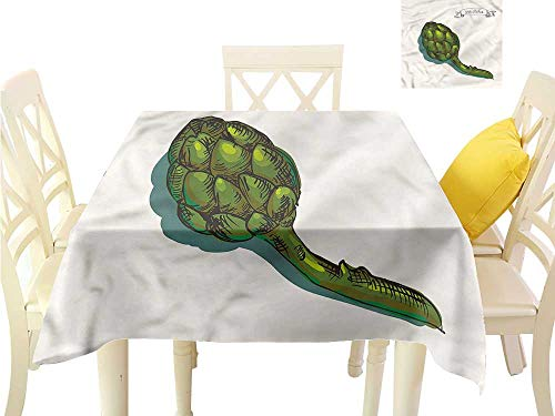WilliamsDecor Tassel Tablecloth Artichoke,Organic Food Yield BBQ Tablecloth W 54