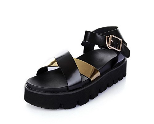 AmoonyFashion Womens Open Toe Kitten Heels Patent Leather Assorted Color Buckle Sandals Black bciq9G5IG