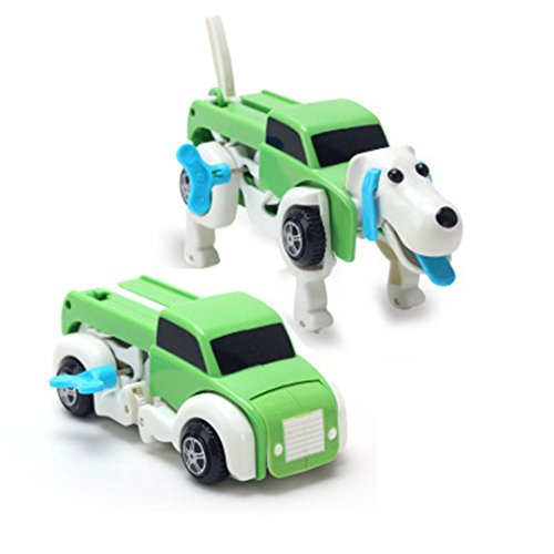Kanzd New Dog Car Transformer Novelty Clockwork Deformable Car Dog New Year KidsToy Gift (colorful)