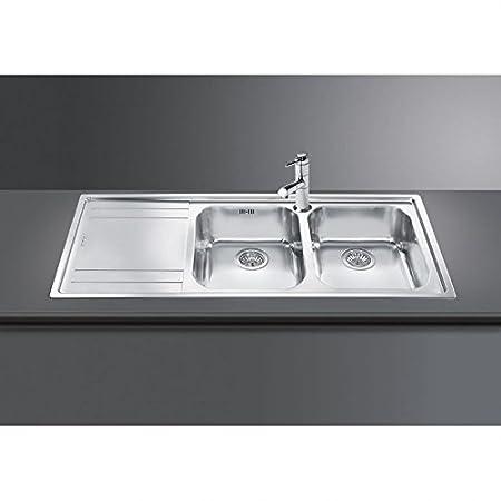 Smeg Rigae LE116S-2 Inset Sink Double Bowl Left Hand Drainer: Amazon ...