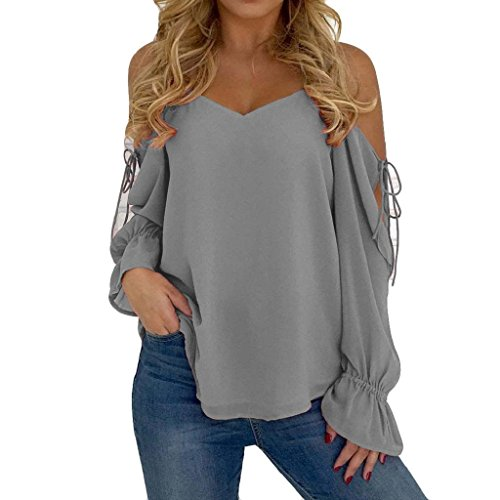 HGWXX7 Long Sleeve T-Shirt For Women Fashion Solid Strapless Bandage Top Blouse(XL,Gray)
