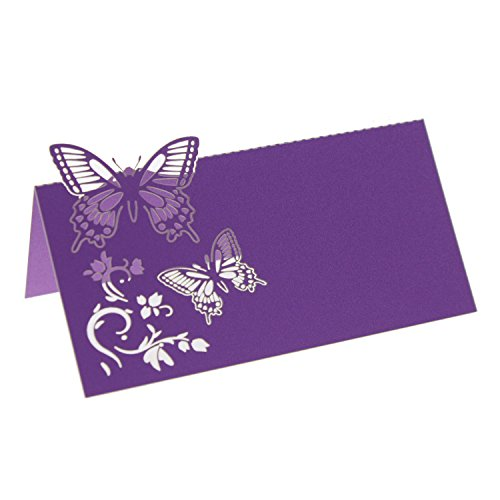 UNIQLED Pack of 60 Laser Cut Butterfly Flower Place Table Numbers Guest Seating Name Cards for Wedding Party Decoration (Purple)