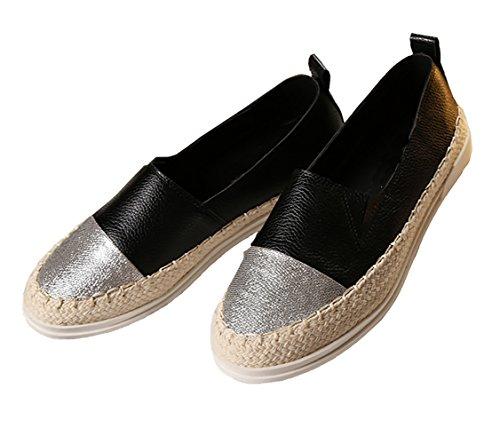 2 Casuale 39 On Argento Donna Sottile Modello scarpe 35 1 Nero Oro Piatto In Metallico Argento Su Nero Espadrillas Dimensioni Scarpe Basse Slip da Bianco Scegliere q688PB