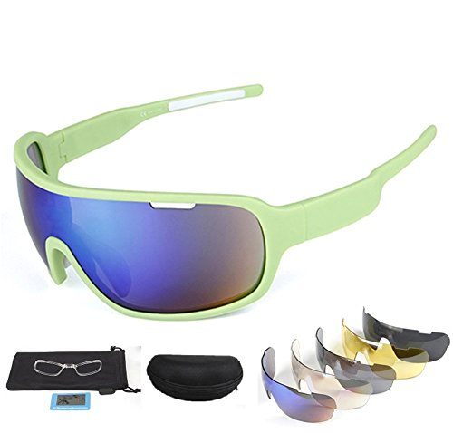 Lorsoul Polarized Sports Sunglasses UV400 With 5 Interchangeable Lenes for Men Women Cycling Running Driving Fishing Golf Baseball Glasses (Green)