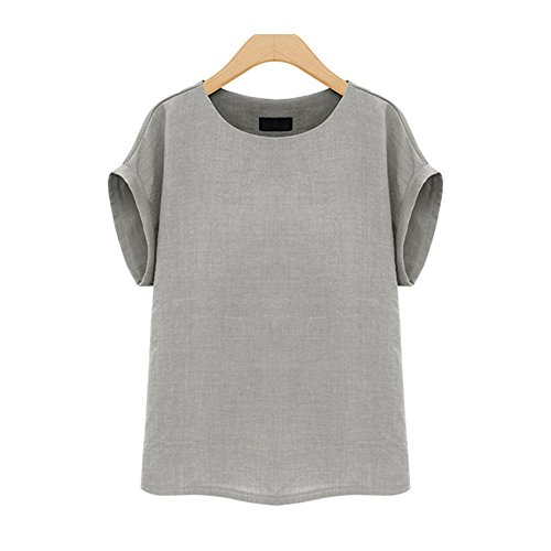 Cotton Short Sleeve Top Blouse (Prapra Women's Casual Loose Short Sleeve Round Collar Cotton Linen Shirt Blouse Tops Plus Size Blouse XL-5XL)