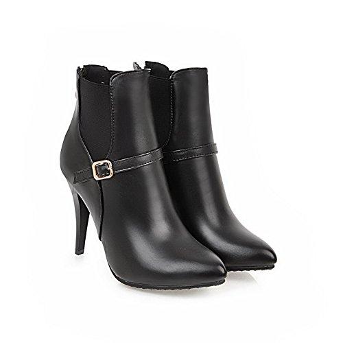 BalaMasa Womens Tuxedo Buckle Spikes Stilettos Urethane Boots ABL10539 Black K0FZWKH