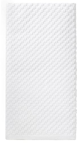 Cotton Craft 12 Pack White EuroCafe Waffle Weave Terry Kitchen Towels 16x28, 100% Ringspun 2 Ply Cotton Highly Absorbent Low Lint, Professional Grade 400 Grams, Multi Purpose Bar Mops Hand (White European Towel)
