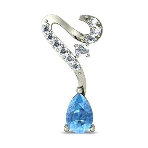 14K Or blanc 0,21CT TW Round-cut-diamond (IJ | SI) et topaze bleue Pendants d'oreilles