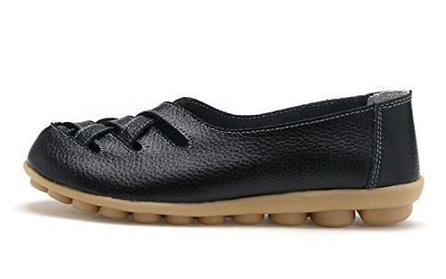 VenusCelia Damen Comfort Walking Casual Flacher Loafer Schwarz