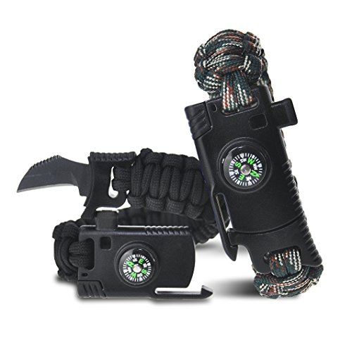 Easymoo Survival Bracelet, Paracord Bracelet,Outdoors Survival gear With Compass Fire Starter And Whistle Emergency Survival Kit
