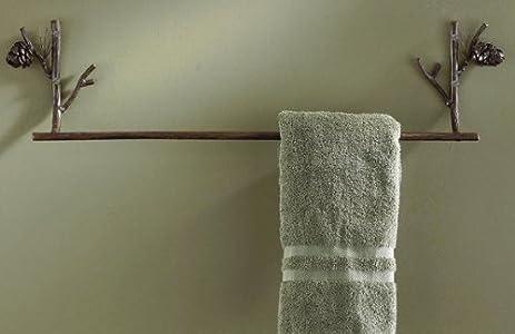 Attractive Pine Lodge Bathroom Towel Bar 24u0026quot;