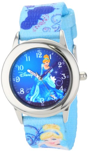 Kids'  Time Teacher Cinderella Stainless Steel Watch with Printed Nylon Band - Disney W000861