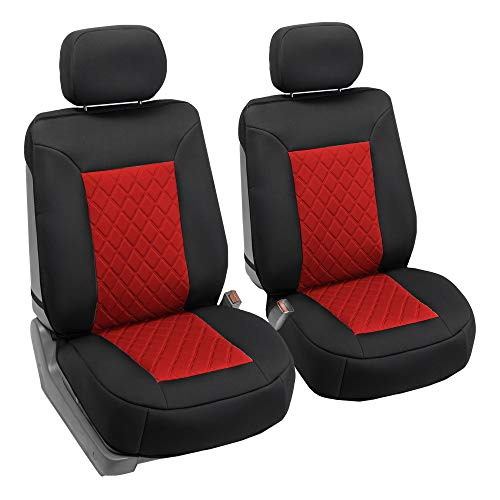 FH Group FB088102 Neosupreme Car Seat Cushion Deluxe Quality, Water Resistant, Non-Slip Backing, Easy Installation, Red/Black Color - Fit Most Car, Truck, SUV, or Van (Gt Seat Covers)