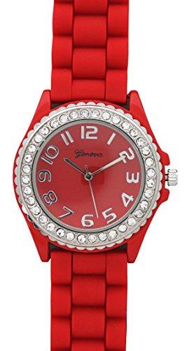 Geneva Silicone Watch Unisex Crystals Rhinestones Wrist Watch Medium Size Dial (Red)