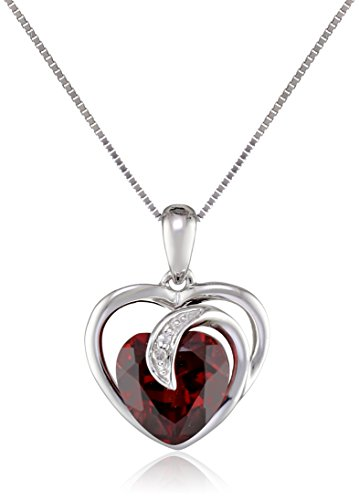 10k White Gold Gemstone and Diamond Accent Scroll Heart Pendant Necklace, 18