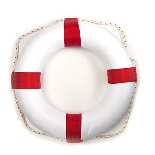 piliwl 50cm Diameter Swim Foam Ring Buoy Swimming Pool Safety Life Preserver W/Nylon Cover Kid Child Adult (Red) 02