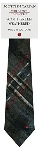 Boys Clan Tie All Wool Woven in Scotland Scott Green Weathered Tartan