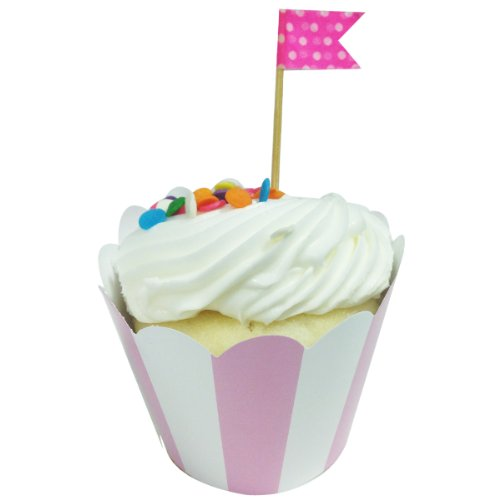 AllyDrew Standard Size Striped Cupcake Wrappers (Set of 20), Pink