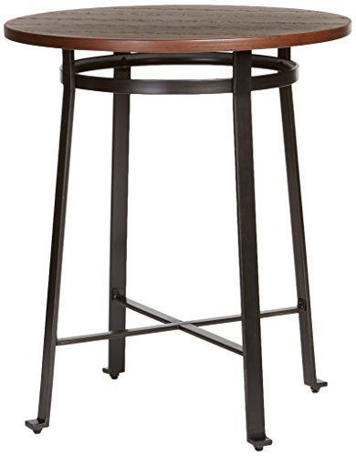 Iron Bar Table Base - Ashley Furniture Signature Design - Challiman Dining Room Bar Table - Pub Height - Round - Rustic Brown