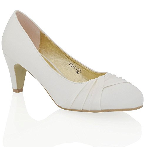 Essex Glam Womens Low Heel Bridal Party Ivory Satin Slip On Pumps Court Shoes 7 B(M) US