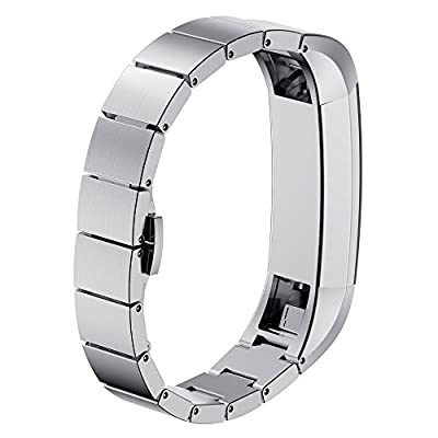 Fitbit Alta (HR) Bands, No1seller Premium Stainless Steel Replacement Watch Band with Classic Butterfly Clasp, Removable Links Fit to Any Wrist Size For Fitbit Alta & HR Fitness Tracker